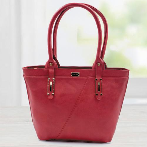 Stunning Red Color Leather Vanity Bag for Women