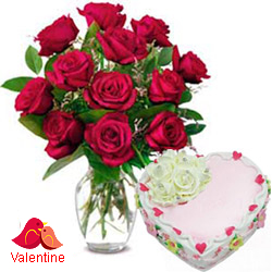 <u><font color=#008000> MidNight Delivery : </FONT></u>:12 Exclusive  Dutch Red    Roses  in vase and  A Fresh Baked Heart Shaped Cake 1 Lb and  a Cadburys Chocolate.