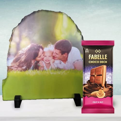 Remarkable Personalized Photo Rock Stone with Fruit n Nut Chocolate