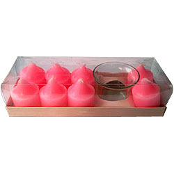 Gift set of 8 Pcs Rose Fragranced Aromatic Candles in Designer Candle Stand