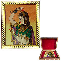Lovely Meenakari Design Handcrafted Wooden Jewellery Box for Mom
