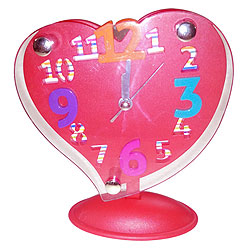 Retro-Style Red Heart Shaped Alarm Clock