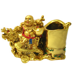 Feng-Shui Laughing Buddha Pen Stand for Revenue and Prosperity