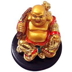 Chaste Gold Plated Laughing Buddha Showpiece