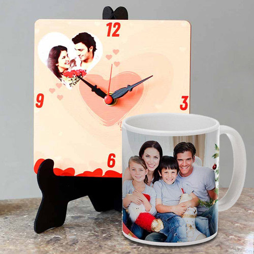 Special Personalized Photo Table Clock with a Personalized Coffee Mug
