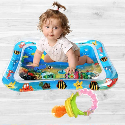 Wonderful Inflatable Water Tummy Time Playmat with Food Nibbler