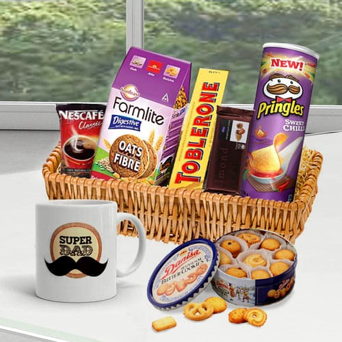 Yummy Coffee and Nuts Treat Gift Basket for Dad<br>