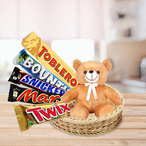 Marvelous Basket of Chocolates with Teddy