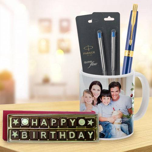 Admirable Combo of Parker Pen with Coffee Mug and Handmade Chocolate