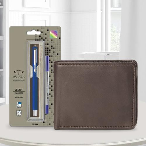 Exclusive Parker Vector Standard Ball Pen with a Brown Leather Wallet