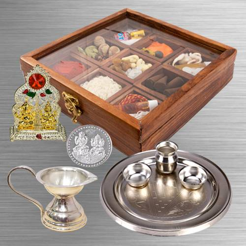 Special Reusable Wooden Box of Puja Samagri