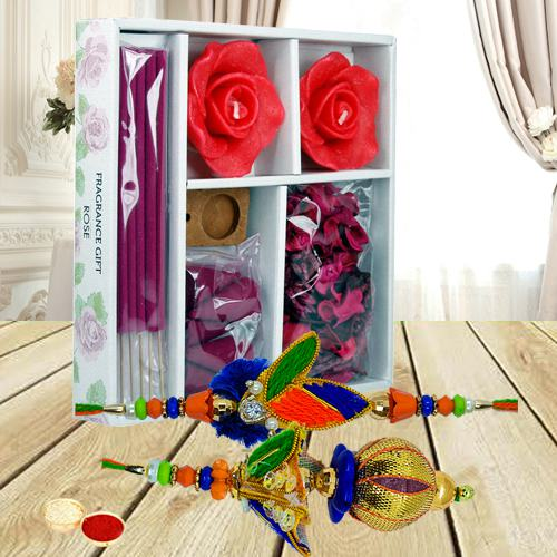 Iris Room Freshener with Bhaiya Bhabhi Rakhi Set