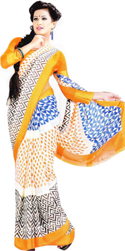 Outstanding Multicolor Georgette Satin Printed Saree