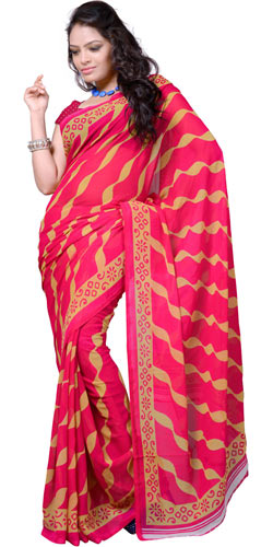 Enticing Red Coloured Georgette Saree with Striped Print Design