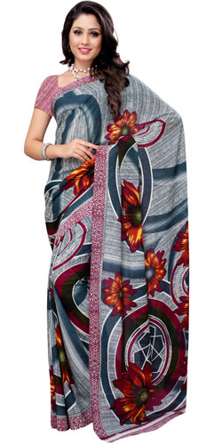 Breathtaking Renial Georgette Printed Saree in Teal and White