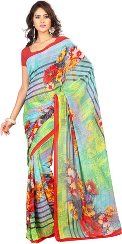 Brilliantly Crafted Yellow and Sky Blue Georgette Printed Saree