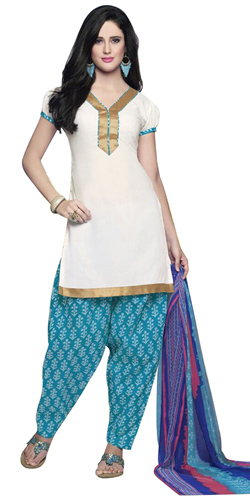 Flattering Pure Cotton Patiala Suit in White