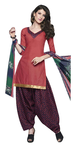 Flattering Cotton Printed Patiala Suit in Pink and Blue Colour