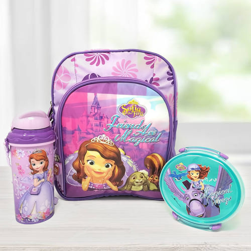 Exclusive Princes Sofia Backpack with Lunch Box and Sipper Bottle