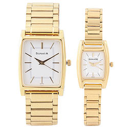 Outstanding Golden Titan Sonata Watches for Couples