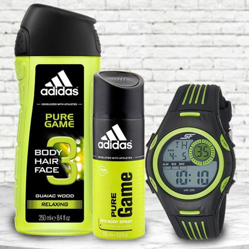 Exclusive Sonata Fibre Mens Watch, Adidas Shower Gel N Deo