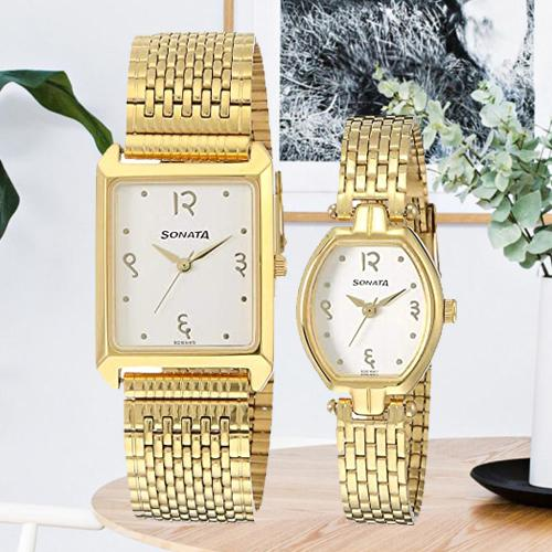 Alluring Analog Gold Dial Couple Watch from Sonata