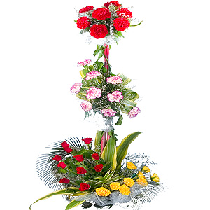Fashionable Roses, Carnations and Mixed Flowers in 3 Tier Arrangement