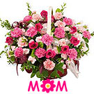 Mothers Day Pink Carnations Basket to Nagpur