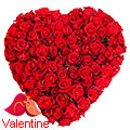 200 Red Roses in Heart Shape Arrangement